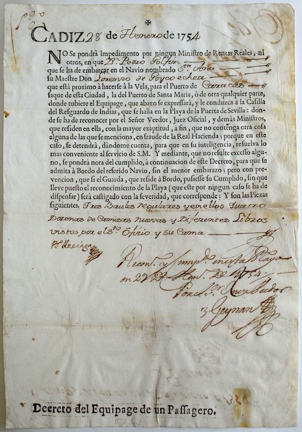 Utförseltillstånd för Pehr Löflings bagage, Cádiz 28 januari 1754