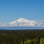 Alaskan mountain capped by snow